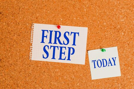 Handwriting text First Step. Conceptual photo The first of a series of actions Act of starting something Corkboard color size paper pin thumbtack tack sheet billboard notice board