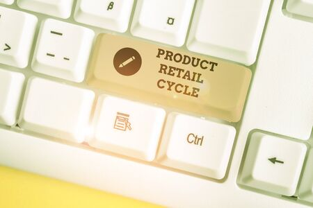 Text sign showing Product Retail Cycle. Business photo showcasing as brand progresses through sequence of stages White pc keyboard with empty note paper above white background key copy space
