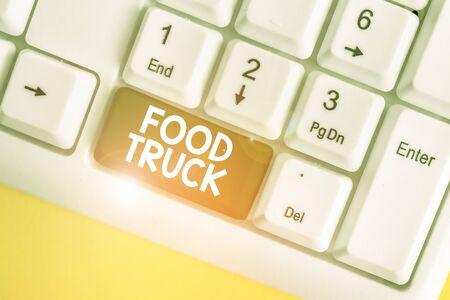 Word writing text Food Truck. Business photo showcasing a large vehicle with facilities for cooking and selling food White pc keyboard with empty note paper above white background key copy space