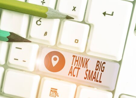 Word writing text Think Big Act Small. Business photo showcasing Great Ambitious Goals Take Little Steps one at a time