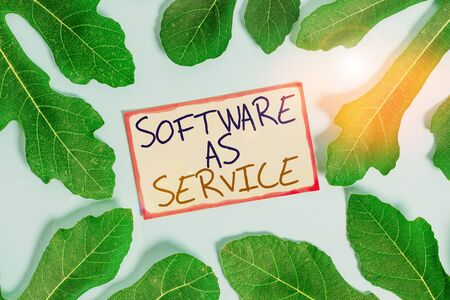 Text sign showing Software As Service. Business photo showcasing On Deanalysisd licensed on Subscription and centrally hosted Leaves surrounding notepaper above an empty soft pastel table as background
