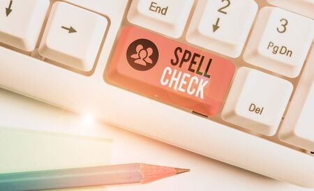 Word writing text Spell Check. Business photo showcasing to use a computer program to find and correct spelling errors Stok Fotoğraf