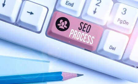 Word writing text Seo Process. Business photo showcasing steps of increasing the quality and quantity of website traffic