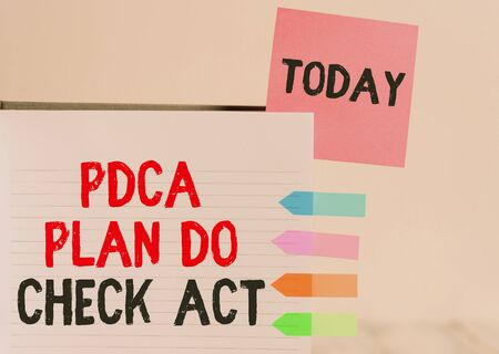Word writing text Pdca Plan Do Check Act. Business photo showcasing Deming Wheel improved Process in Resolving Problems Hard cover note book sticky note arrow banners inserted clear background