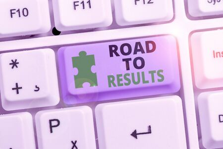 Writing note showing Road To Results. Business concept for Business direction Path Result Achievements Goals Progress