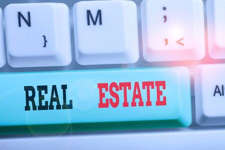 Word writing text Real Estate. Business photo showcasing the property consisting of land and the buildings on it Stockfoto