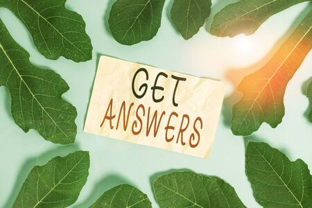 Conceptual hand writing showing Get Answers. Concept meaning to get a reply or something when asks a question to someone Leaves surrounding notepaper above empty soft pastel table Stok Fotoğraf - 133729369