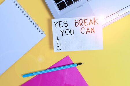 Conceptual hand writing showing Yes break You Can. Concept meaning Positivity Encouragement Persuade Dare Confidence Uphold Laptop marker square sheet spiral notebook color background