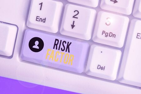 Writing note showing Risk Factor. Business concept for a condition behavior or other factor that increases danger