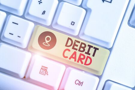 Text sign showing Debit Card. Business photo text card that deducts money directly from a demonstrating s is checking account Stok Fotoğraf