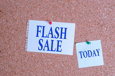 Handwriting text Flash Sale. Conceptual photo a sale of goods at greatly reduced prices at a short period Corkboard color size paper pin thumbtack tack sheet billboard notice board Stock fotó