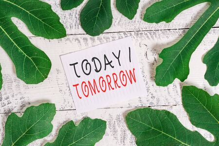 Conceptual la scrittura a mano che mostra oggi o domani. Concetto significato cosa sta succedendo ora e cosa porterà il futuro foglie che circondano la carta da lettere sopra un classico tavolo in legno Archivio Fotografico