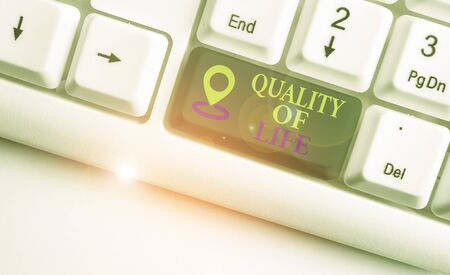 Text sign showing Quality Of Life. Business photo text being in good health decent job Enjoying every moment White pc keyboard with empty note paper above white background key copy space