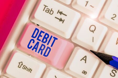 Handwriting text Debit Card. Conceptual photo card that deducts money directly from a demonstrating s is checking account Stok Fotoğraf - 133729712