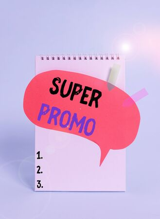 Text sign showing Super Promo. Business photo text piece of publicity or advertising in the form of a short film Spiral notepad speech bubble arrow banners lying cool pastel background Stock fotó