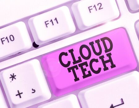 Writing note showing Cloud Tech. Business concept for storing and accessing data and programs over the Internet