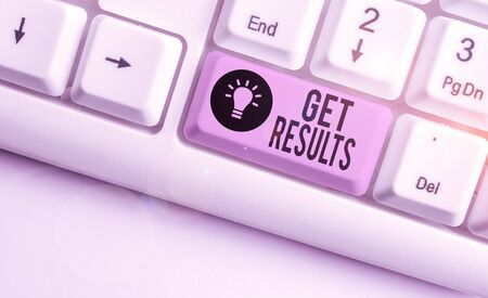 Text sign showing Get Results. Business photo showcasing to proceed or arise as a consequence effect or conclusion White pc keyboard with empty note paper above white background key copy space Stok Fotoğraf