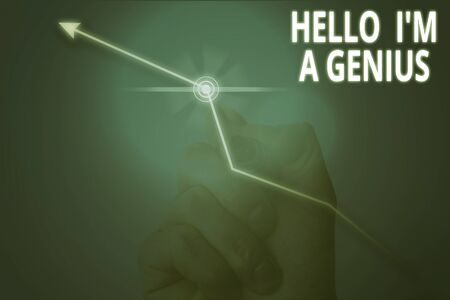 Conceptual hand writing showing Hello I M A Genius. Concept meaning Introduce yourself as over average demonstrating to others Stock fotó