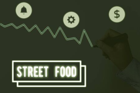 Writing note showing Street Food. Business concept for cooked food sold by vendors in a street or other public location