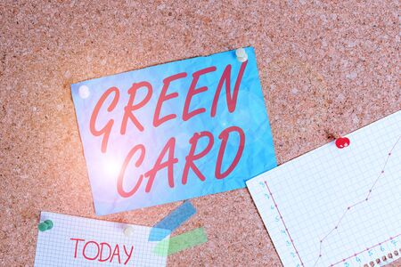 Text sign showing Green Card. Business photo showcasing permit allowing a foreign national to live peranalysisently in the US Corkboard color size paper pin thumbtack tack sheet billboard notice board