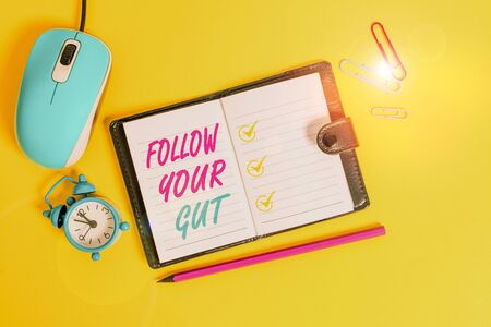 Word writing text Follow Your Gut. Business photo showcasing Listen to intuition feelings emotions conscious perception Locked diary sheets clips marker mouse alarm clock colored background