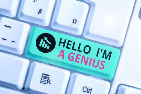 Writing note showing Hello I M A Genius. Business concept for Introduce yourself as over average demonstrating to others