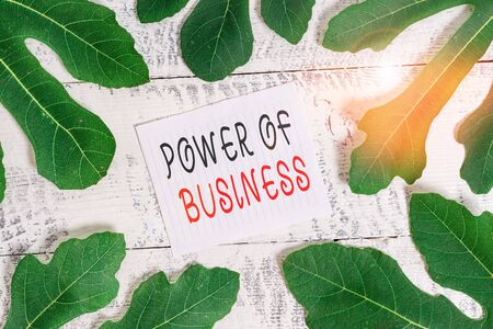 Conceptual hand writing showing Power Of Business. Concept meaning The ability to influence peers for attaining the goals Leaves surrounding notepaper above a classic wooden table