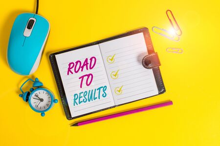 Word writing text Road To Results. Business photo showcasing Business direction Path Result Achievements Goals Progress Locked diary sheets clips marker mouse alarm clock colored background