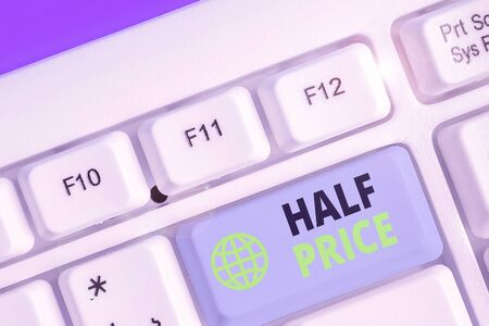 Word writing text Half Price. Business photo showcasing half the usual price at which something is offered for sale