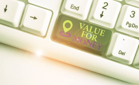 Text sign showing Value For Money. Business photo text reference to something is well worth the money spent on it White pc keyboard with empty note paper above white background key copy space