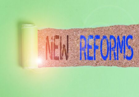 Text sign showing New Reforms. Business photo text to amend or improve by change of form or removal of faults Cardboard which is torn in the middle placed above a wooden classic table
