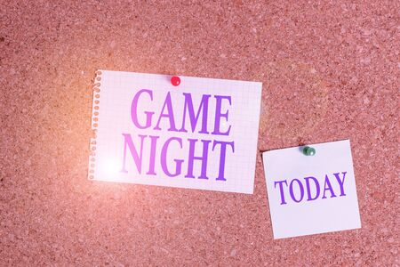 Handwriting text Game Night. Conceptual photo event in which folks get together for the purpose of getting laid Corkboard color size paper pin thumbtack tack sheet billboard notice board Imagens