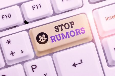 Conceptual hand writing showing Stop Rumors. Concept meaning put an end circulating the story of uncertain or doubtful truth