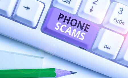 Handwriting text Phone Scams. Conceptual photo use of telecommunications for illegally acquiring money