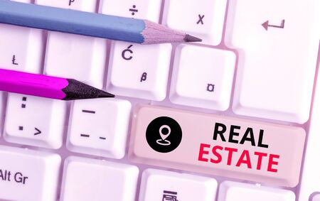 Text sign showing Real Estate. Business photo text the property consisting of land and the buildings on it