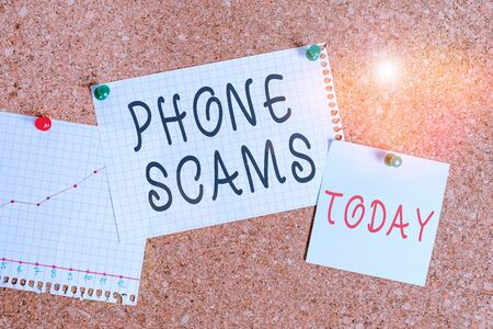 Word writing text Phone Scams. Business photo showcasing use of telecommunications for illegally acquiring money Corkboard color size paper pin thumbtack tack sheet billboard notice board
