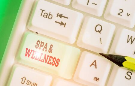Word writing text Spa And Wellness. Business photo showcasing Place where showing go to improve their health Relaxation Stock Photo - 133731445