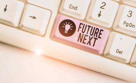 Text sign showing Futuro Next. Business photo showcasing Set of mental process Huanalysis mind workflow Unique icons White pc keyboard with empty note paper above white background key copy space