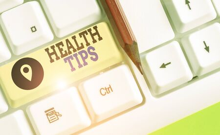 Writing note showing Health Tips. Business concept for beneficial to one s is physical mental or emotional state