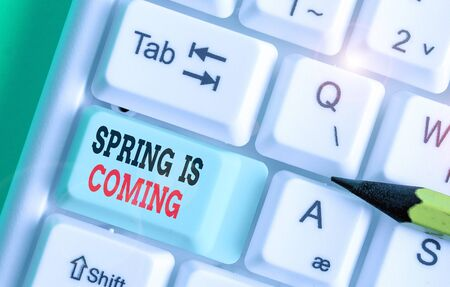 Word writing text Spring Is Coming. Business photo showcasing After winter season is approaching Enjoy nature flowers sun Stock Photo