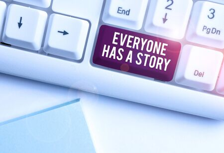 Text sign showing Everyone Has A Story. Business photo text Background storytelling telling your memories tales White pc keyboard with empty note paper above white background key copy space