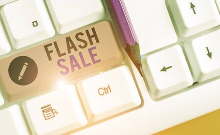 Writing note showing Flash Sale. Business concept for a sale of goods at greatly reduced prices at a short period Stock fotó - 133731740