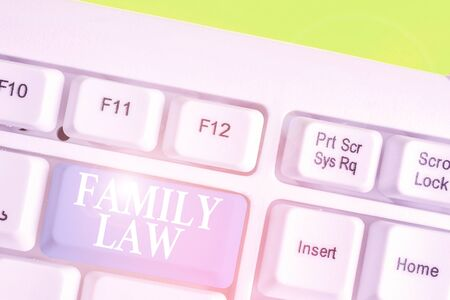 Word writing text Family Law. Business photo showcasing the branch of law that deals with matters relating to the family
