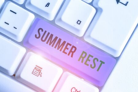 Word writing text Summer Rest. Business photo showcasing taking holiday break or unwind from work or school during summer