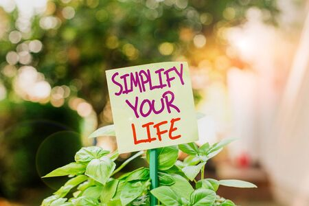 Handwriting text writing Simplify Your Life. Conceptual photo Manage your day work Take the easy way Organize Plain empty paper attached to a stick and placed in the green leafy plants