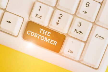 Text sign showing The Customer. Business photo showcasing demonstrating or organization that buys goods or services from a store White pc keyboard with empty note paper above white background key copy space