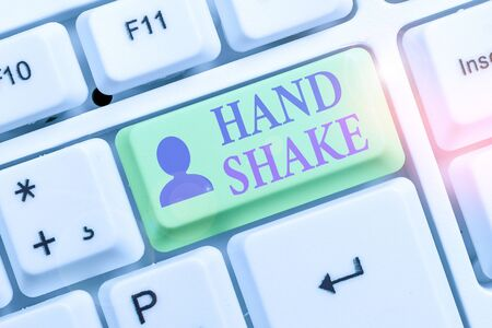 Writing note showing Hand Shake. Business concept for an act showing that you have made an agreement or greeting