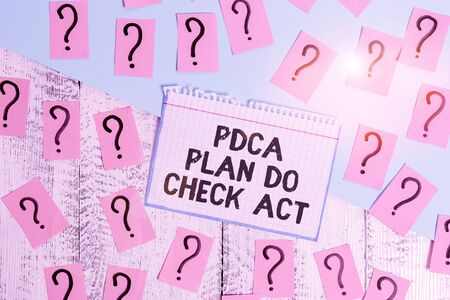 Writing note showing Pdca Plan Do Check Act. Business concept for Deming Wheel improved Process in Resolving Problems Scribbled and crumbling papers with thick cardboard above wooden table Reklamní fotografie