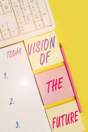 Text sign showing Vision Of The Future. Business photo text Seeing something Ahead a Clear Guide of Action Empty papers with copy space on the yellow background table