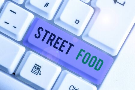 Word writing text Street Food. Business photo showcasing cooked food sold by vendors in a street or other public location